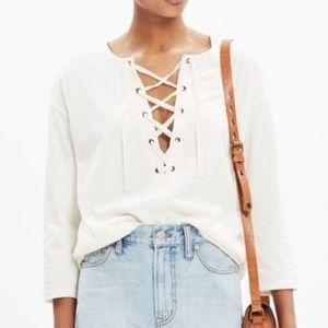 Madewell Ivory/Cream Libra Lace Up T Shirt Large